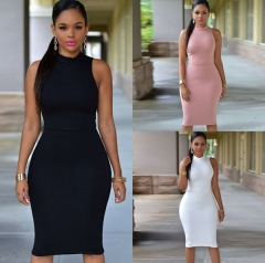 Women's High Collar Sleeveless Back Hollow Out Bandage Bodycon Dress white L
