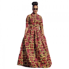 Sexy Half Sleeve African Printed Crop Tops Long Skirt Party Clubwear 2 Pieces Set SWISSANT® as picture l