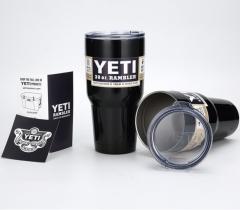 Yeti Rambler Tumbler Stainless Steel Bottle with Lid, Black,30 oz