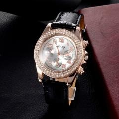 Brand GOGOey Leather Watches Women Luxury Design Full Crystals Analog Lady Quartz Watch black