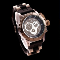 V6 Fashion Sport Watches Men Luxury Brand Watch Quartz Watch Silicone Strap Military Watches black as picture