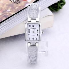 Women Vintage Luxury Elegant Quartz Fashion Rectangle Dial Carved Pattern Bracelet Casual WristWatch white
