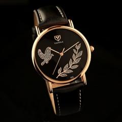 YAZOLE Brand Rose Gold Watch Luxury Crystal Quartz Watch Women Ladies Wristwatch black and black