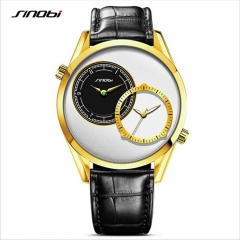 SINOBI Men Fashion Gold Wrist Luxury Brand Leather Strap Male Double Quartz Clock Business Watches gold as picture