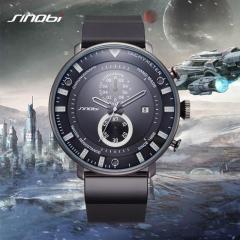 SINOBI Watch Men Watch Ultra Thin Chronograph Wrist watches Waterproof Sport Watch Clock black as picture