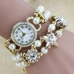 New Women´s Fashion Lovely Beads Bracelet Round dial Watches white