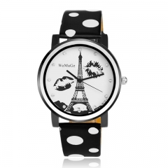 Eiffel Tower Fashion Watch Polka Dot Leather Ladies Watch black