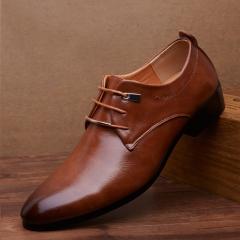 Men pu Leather Shoes  Men's Flats Formal Shoes Classic Business Dress Shoes brown 38