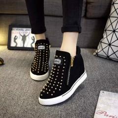 2017 Fashion Punk Rivet Wedge Women Shoes Hidden Heel Height Increasing Double Zipper Causal Shoes black 35