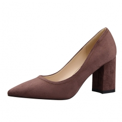 2017 new  fashion Woman Pointed Toe square Heels pumps woman office shoes coffee 34