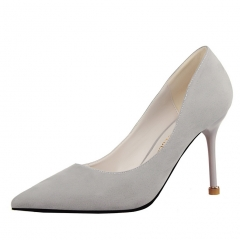 2017 Fashion Woman Pointed Toe High Heels pumps suede leather Women single office grey 34
