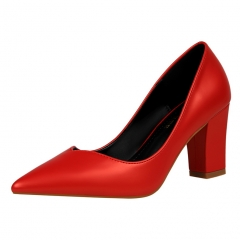 2017 new style fashion Woman Pointed Toe square Heels pumps women office shoes red 34