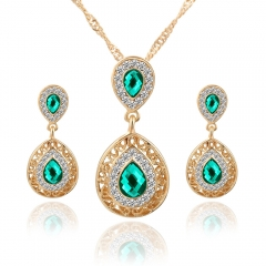High Quality Water Drop Crystal Necklace Plus Rhinestone Earrings Green As Pictures