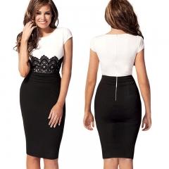 Ladies Dress Fashion Striped Print Design Women Official Style Hip Dress   Ladies Dress Business white S