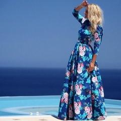 2016 Fashion round collar printing temperament Bohemian dress blue S