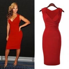 Women 's V neck sexy slim dress dress large size pencil skirt red S