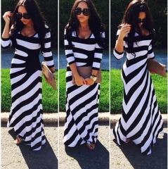 Spring Print Striped Sleeve Long Skirt stripe S
