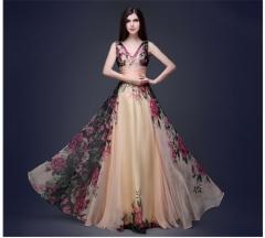 2016 new women's sexy sexy fashion shoulder dress flower dress flower S