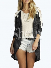 Fashion lace stitching long sleeved cardigan jacket large size women's grey s