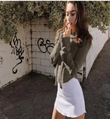 2017 autumn and winter new round hem short hooded sweater gray S