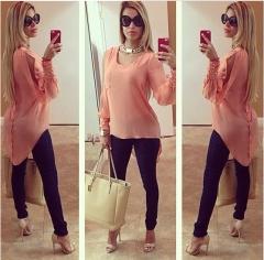 2017 new medium long bubble chiffon shirt pink S