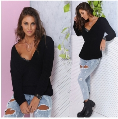 2017 new long sleeves deep V loose casual bottom sweater wild knitted bottoming shirt black free size