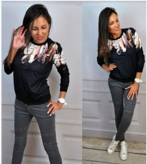 2017 three-color feathers printed seven-point sleeve women's sweater long-sleeved T-shirt shirt black S