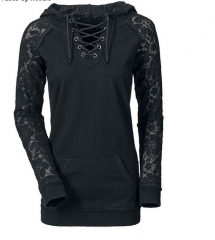 2017 new lace stitching drawstring sweater black S