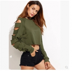 2017 autumn and winter new hole sleeves sweater coat army green S