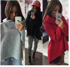 2017 autumn and winter irregular high collar scarf collar shirt T shirt sweater women black S