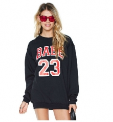 2017 Basketball Style Letter Print Black Ribbed Long Sleeve Female Sweater Shirt black S
