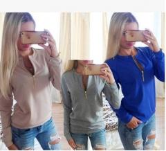 2017 long sleeve round neck fashion zipper shirt sweater coat pink S