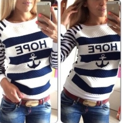 2017 spring boat hoodie striped round neck sweater white S