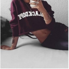 2017 Women's new back burned flowers broken hole exposed umbilical round neck sweater wine red S