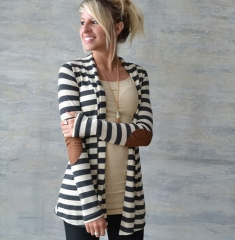 2017 autumn and winter fashion trend Slim long-sleeved striped arm patch cardigan jacket cotton gray S
