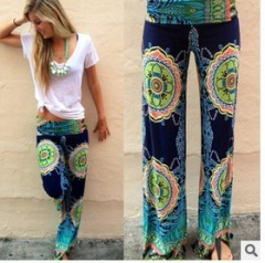 2017 new summer waist floral floral casual pants green S