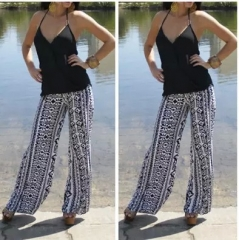 2017 summer new printing trousers straight pants printing S