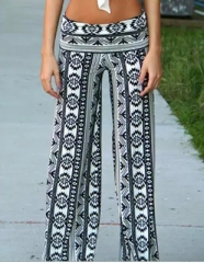 2017 new printing casual pants wide leg straight pants wide leg pants printing S