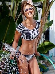 2017 bikini sexy swimsuit two sets of split stripe S