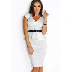 Women 's Fashion Women' s Short Sleeve V - Neck Dress white free  size