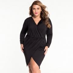 Women 's long - sleeved extracurring packs hip irregular skirt dresses black XXL
