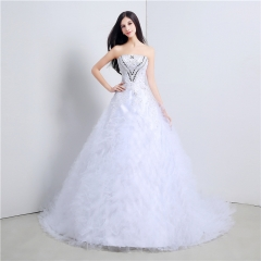 2017 high-end luxury bracelet long tail wedding dress Korean style sexy puff skirt wedding dress white us 2