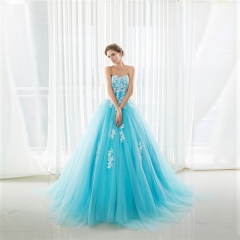 The new sexy lace wipes wedding long tail color wedding dress Sea blue us 2