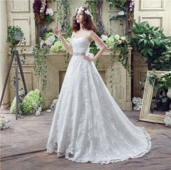 2017 new brushes wedding dress Korean sexy lace long tail wedding white us 2