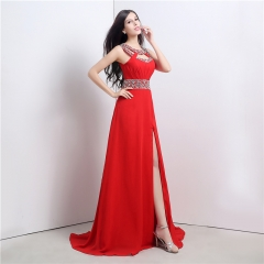 Dinner sexy high open fork long adult evening dress red bride toast service red us 2