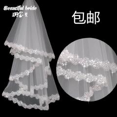New bride veil white lace bride wedding veil wedding dress white all code