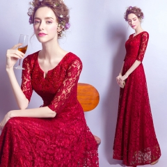 Bridal toast 2016 new long autumn and winter wedding dress evening dress Slim was thin red s