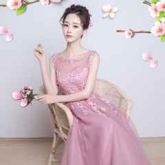 Toast 2016 new autumn and winter bride wedding dress long dress Purple powder s