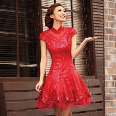 New Korean bride wedding wedding short paragraph yarn lace wedding dress red short section s