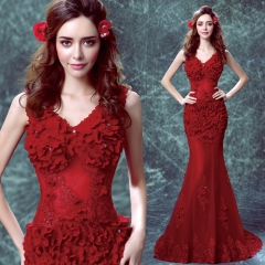 2016 new in the sleeves host dress lace dress burst models women red s